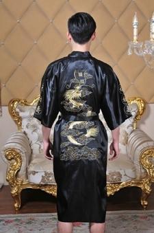 De frete Grátis homens Chineses Robe Kimono Camisola Sleepwear Dragão tradicional chinesa homens vestido de quimono roupão pijama