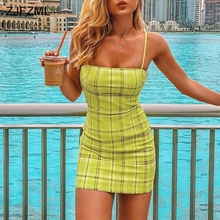 ZJFZML Sexy Spaghetti Strap Bandage Dress 2018 Women Green Plaid Print Sleeveles Party Dress Summer Backless Slim Fit Mini Dress