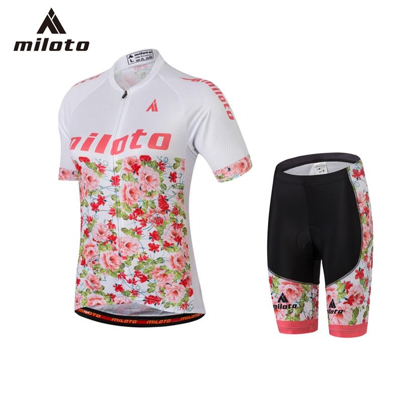 Miloto Велоспорт Джерси брюки наборы для женщин Женский велосипед Pro Спортивная одежда дышащий гель площадку нагрудник шорты Велоспорт трикотажные изделия Ропа ciclismo