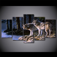 Canvas Painting Modern Posters And Prints 5 Piece Canvas Art Two Wolves Wall Pictures For Living