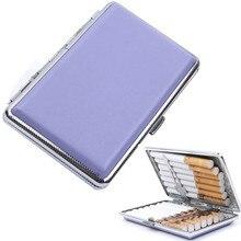 New Convenient Lady Cigarette Case Purple Cigarette Box Leather Case Smoking Pouch for 14 Cigarettes Travel Accessories