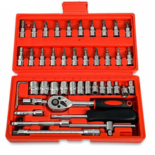 Professional 46pcs Spanner Socket Set 1/4'' Screwdriver Ratchet Wrench Kit Car Repair Hand Tools Combination Bit a Set of Keys недорого