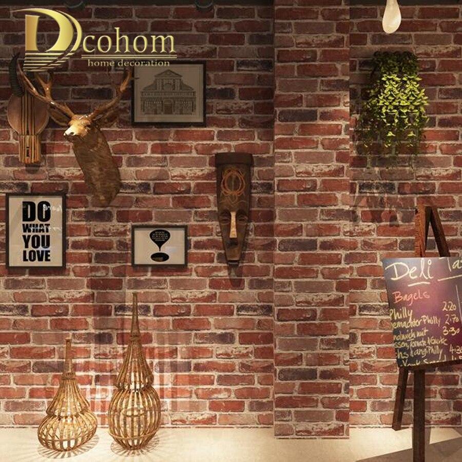 Vintage Imitazione di Mattoni 3D Carta Da Parati Roll Bar Ristorante Cafe Carta Da Parati Sfondo Decorazione Retrò Rosso Bianco di Pietra Della Parete Decalcomanie