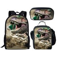3 type/set 3D Dinosaur pattern Animals World Schoolbag Jurassic Dinosaur Kids Backpack Children Gift For Boys Travel BookBag