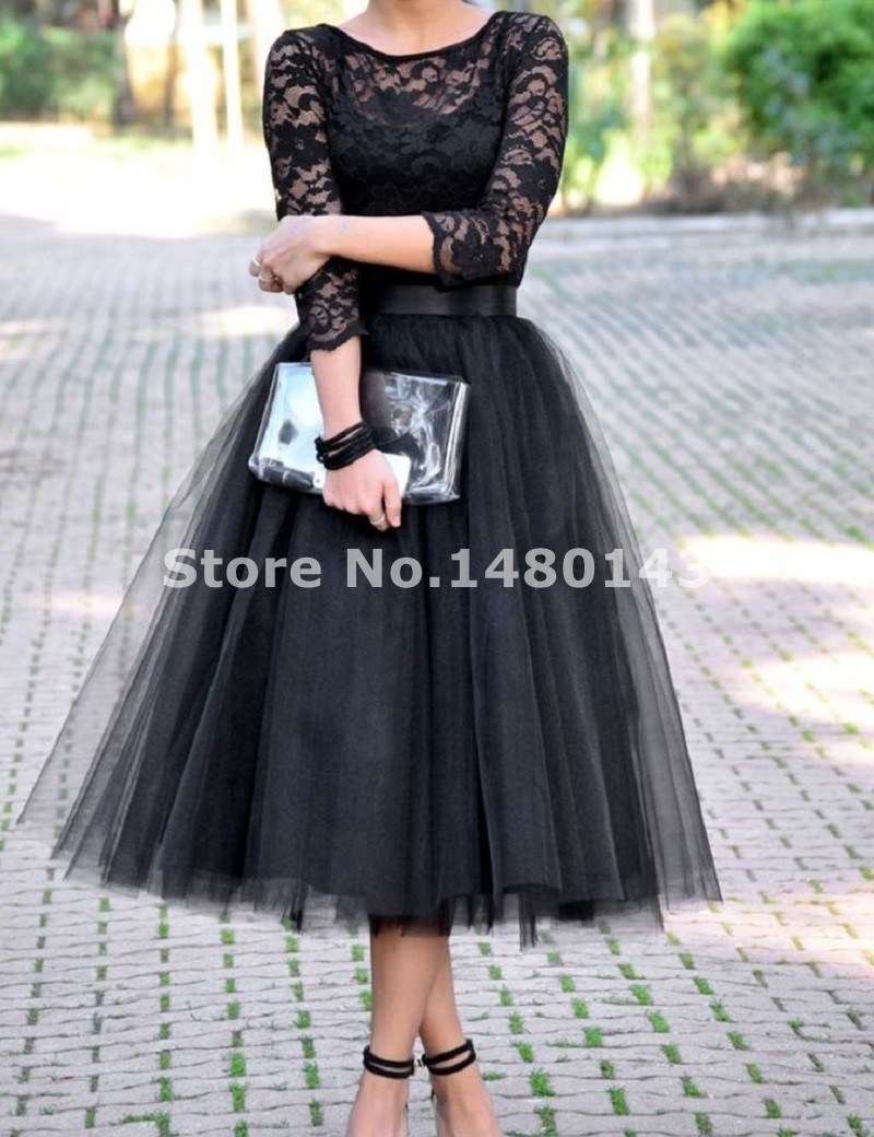 2016 Cheap Three Quarter Bridesmaids Dresses Black Tulle