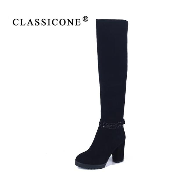 CLASSICONE shoes woman winter high boots genuine leather high heels wool inside warm brand fashion pumps Sole is not slippery