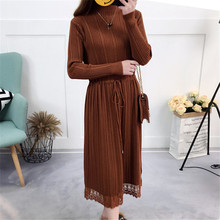 Knitted Midi Dress Women Autumn 2018 Long Sleeve Solid Knitting Dresses Female Turtleneck Lace Party Dress Casual Clothes