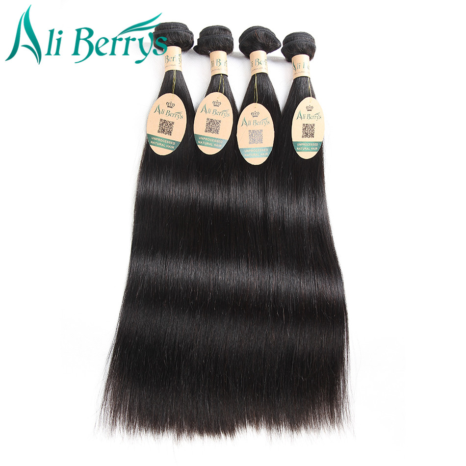 Ali Berrys Malaysian Straight Remy Human Hair Weave Bundles 10-28 Inches Malaysian Hair Extensions Natural Color Straight Hair