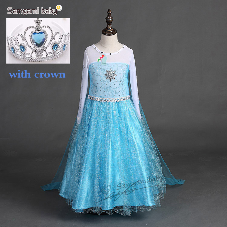 Summer Girl Princess Elsa Dress with crown Children Halloween Snow Queen Cosplay Costume Baby Toddler Kids girls party Clothes girl dresses summer brand baby kid clothes princess anna elsa dress snow queen cosplay costume party children clothing new years