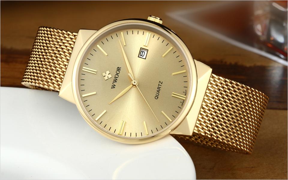 WWOOR Brand Luxury Men Waterproof Stainess Steel Casual Gold Watches Men's Quartz Sport Wrist Watch Male Clock relogio masculino 7