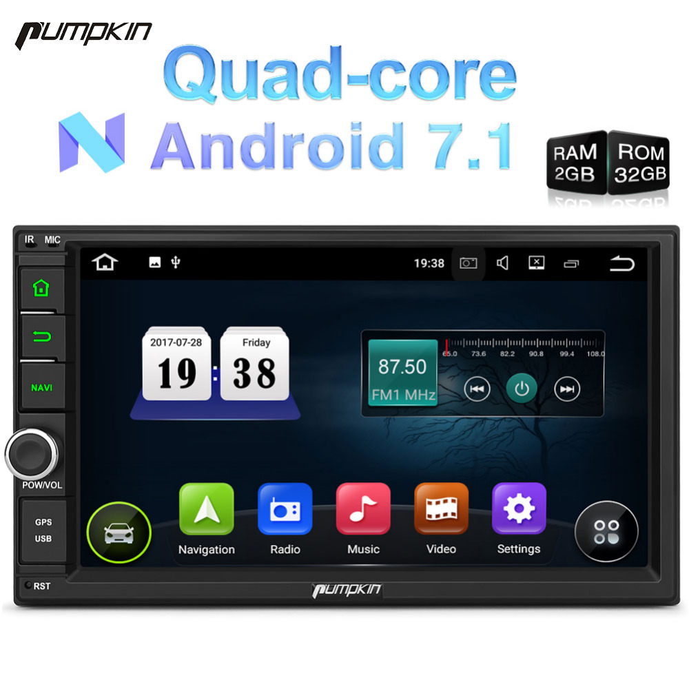 Pumpkin 2 Din Android 7.1 Universal Car Radio No DVD Player GPS Navigation Quad-Core Car Stereo Touch Screen Wifi OBD2 Headunit