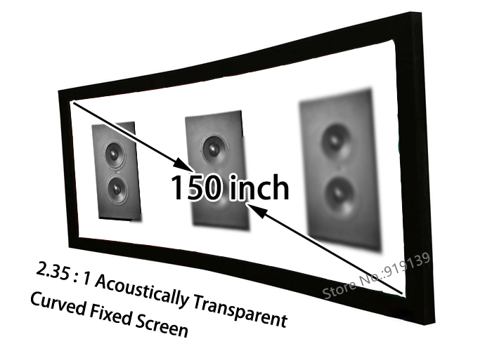 HD Curved Screen 150 Diagonal 2.35:1 Acoustically Transparent Fixed Screen Aluminum Frame Front Projection Screens hd projector projection screen 300inch 16 9 format outdoor fast folding frame screens for camping music party