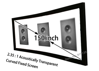 """HD Curved Screen 150"""" Diagonal 2.35:1 Acoustically Transparent Fixed Screen Aluminum Frame Front Projection Screens"""