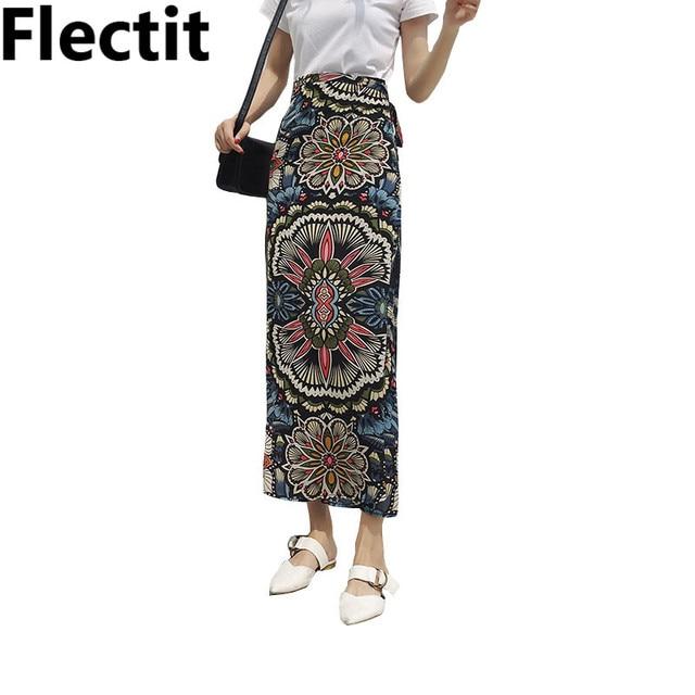 94e0ba4c7205 2018 Summer Beach Outfits Kaleidoscope Print Asymmetrical Chiffon Maxi Long  Skirt with Ties Women s Clothing Saia Feminina