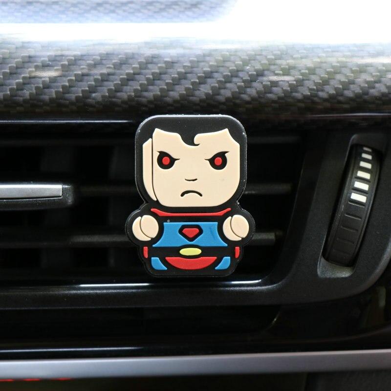 Освежитель воздуха с героями мультфильмов, автомобильный Стайлинг, духи, Мстители, Marvel, стиль для кондиционера, Вентиляционный Выход, Супермен, Бэтмен, модный, крутой - Название цвета: superman