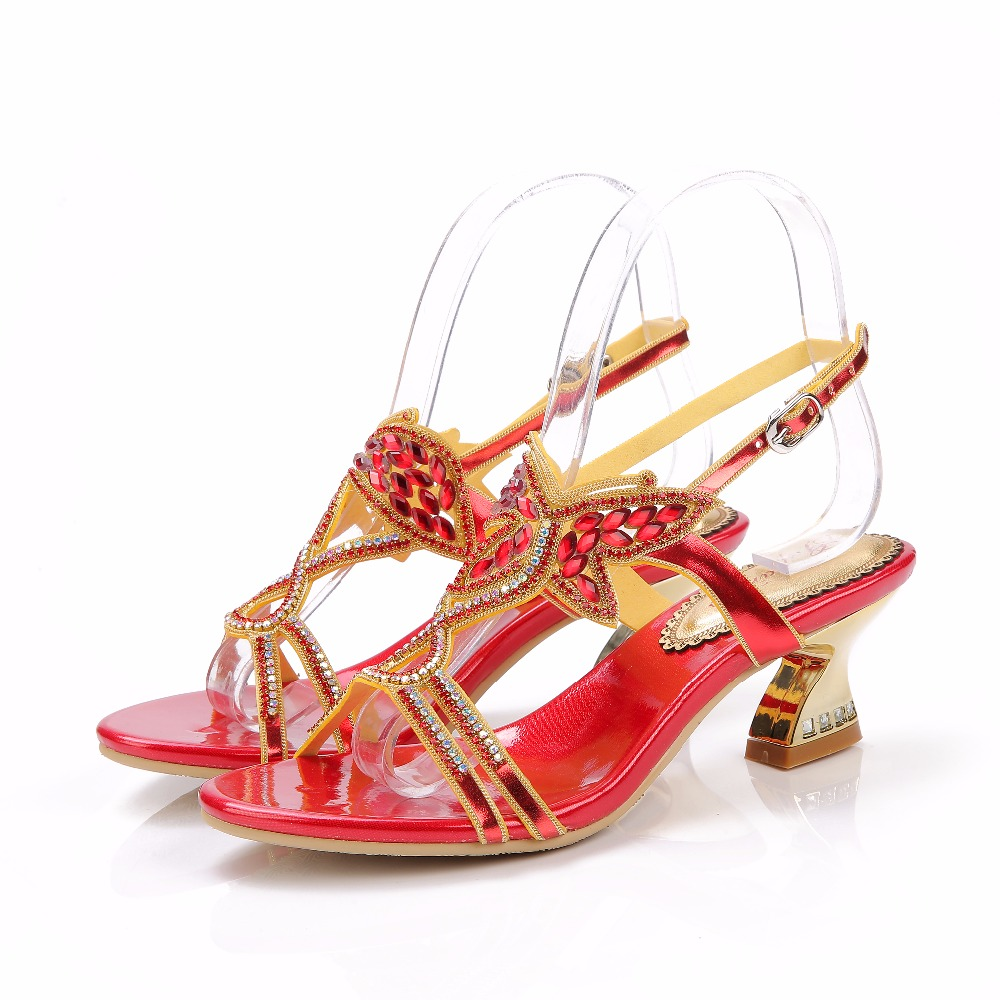 2017 Summer Sexy Girl Red Bowknot Gemstone Buckle Strap High Heels Women Crystal Sandals Peep Toe Woman Party Wedding Shoes