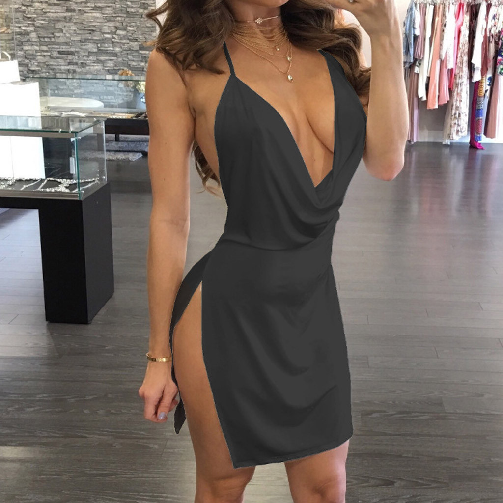 Women Party Dress Sexy V-Neck Halter Backless Slit Backless Women Summer Dresses Mini Bodycon Draped Slim Club Dress