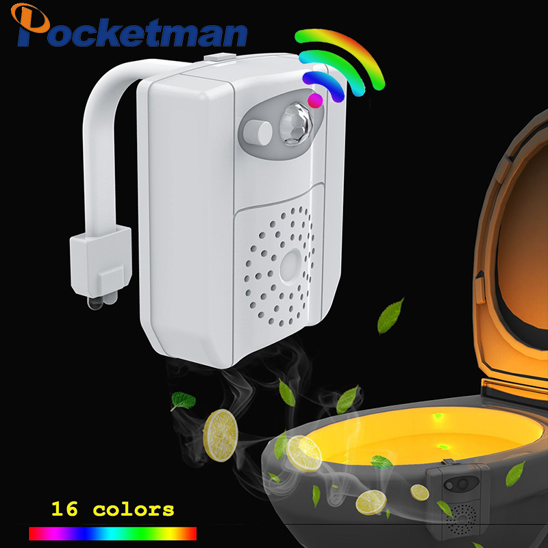 POCKETMAN UV Sterilization Toilet Light 16 Colors Changing PIR Motion Sensor RGB LED Light With Aromatherapy For Toilet Bowl