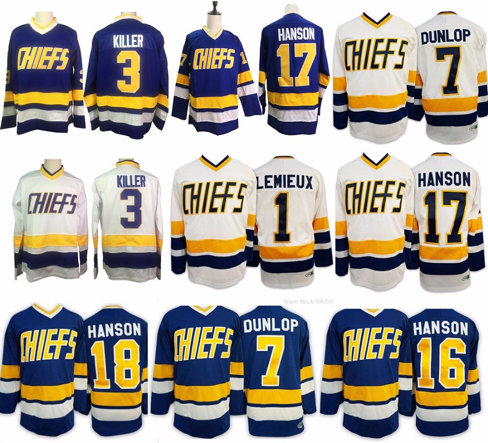 Форма для хоккея #16 #17 #18 Стив Hanson Brothers воротам Джерси #1 Лемье Charlestown РУКОВОДСТВО № 3 #7 ретро сшитые Джерси