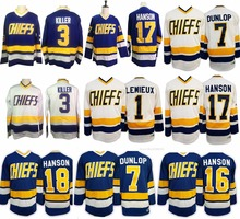 Ice Hockey Jerseys  16  17  18 Steve Hanson Brothers Slap Shot Jersey  1  lemieux Charlestown Chiefs  3  7 Retro Stitched Jersey f0ca44898