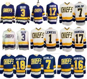 6e61f0951 Ice Hockey Jerseys  16  17  18 Steve Hanson Brothers Slap Shot Jersey  1  lemieux Charlestown Chiefs  3  7 Retro Stitched Jersey