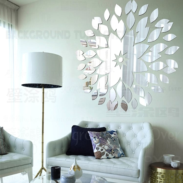 Creative DIY circle flower petals acrylic decoration wall mirror ...