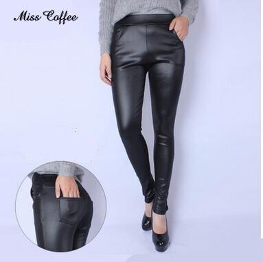 2018 Autumn Winter Women   Legging   Skinny PU Leather Pencil   Leggings   Slim Faux Leather Pants Female Fashion True pocket   leggings