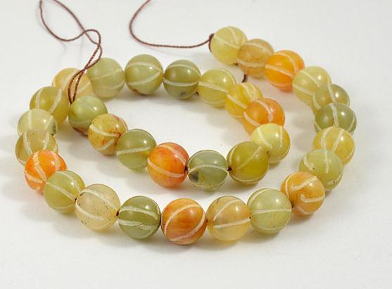 Unique Pearls jewellery Store Charming Carved Pumpkin Old Jade Round 11mm Gemstone Beads Full Strand 15Unique Pearls jewellery Store Charming Carved Pumpkin Old Jade Round 11mm Gemstone Beads Full Strand 15