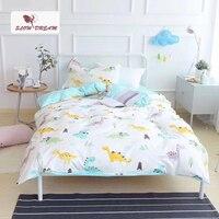 SlowDream Cute Little Dinosaur Cartoon Bedding Set Kids Embroidery Duvet Cover Set 100 Cotton Bed Set