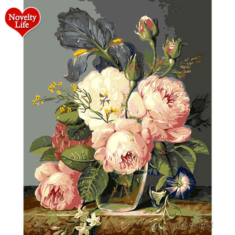 With Frame Pink Europe Flower DIY Oil Painting By Numbers Coloring Acrylic Paint Hand Painted On Canvas For Home Decor Art F35