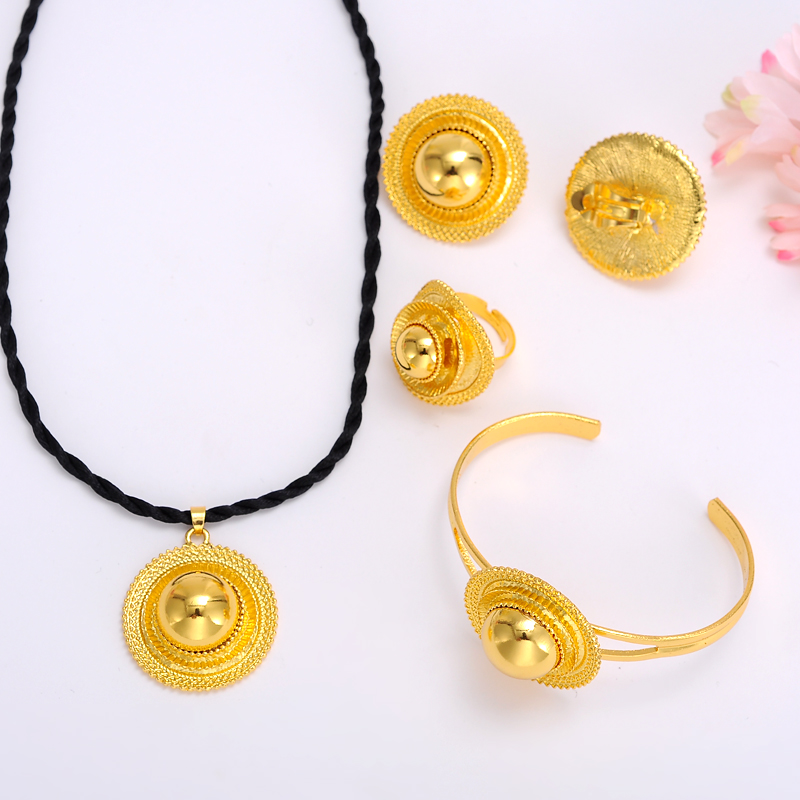 Bangrui Necklaces Jewellery Wedding-Jewelry-Sets Ethiopian Africa Traditional Gold-Color