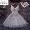 2017 Real Photos A Line Appliques Lace Short Bridemaid Dresses Robe Demoiselle D'honneur Short Dresses For Wedding Party CPS341