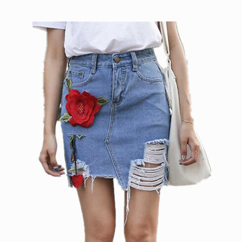 ForeMode Women Embroidery Flower Denim Skirts Female Summer Slim Jean Skirt Flower Shorts бейсболк мужские