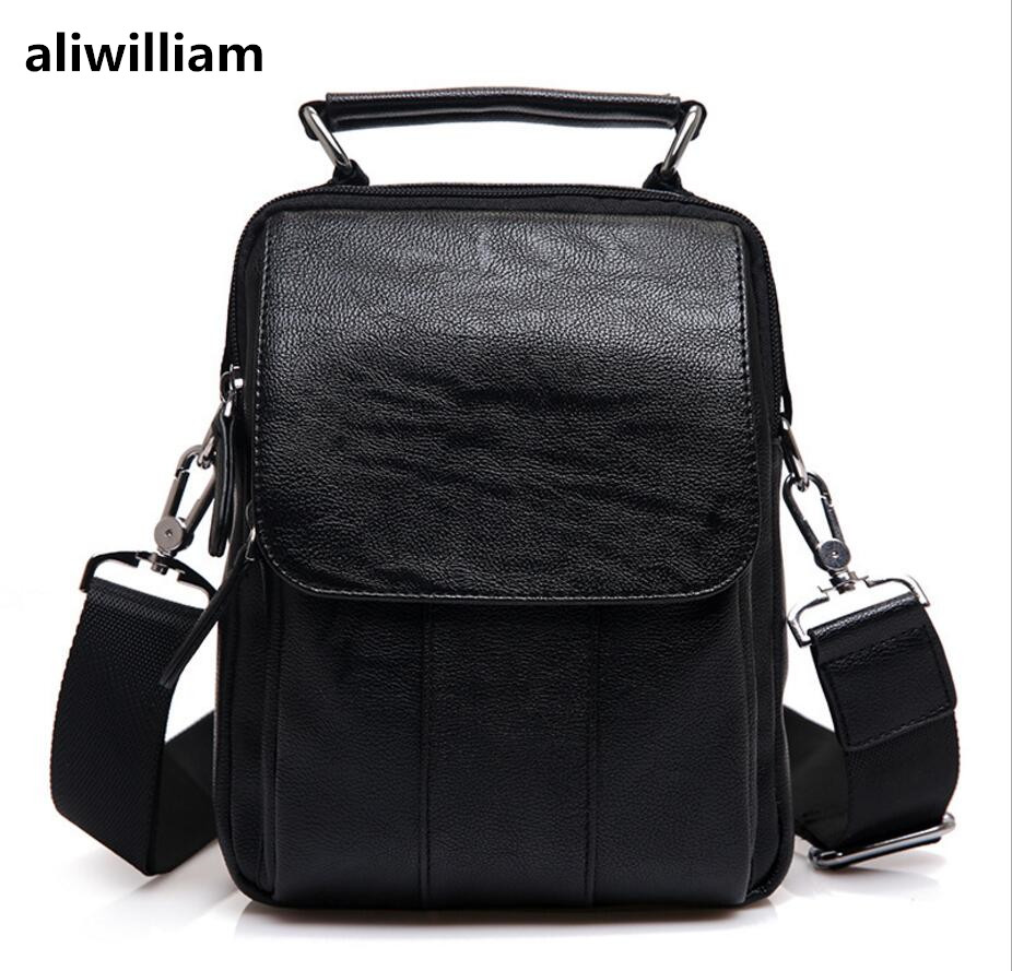ALIWILLIAM High-end Brand 2017 New Men's Bag Men's Shoulder Bag Leather Men's Bag Leather Messenger Bag Fashion Male Hot Handbag yuanyu new 2017 hot new free shipping crocodile leather women handbag high end emale bag wipe the gold
