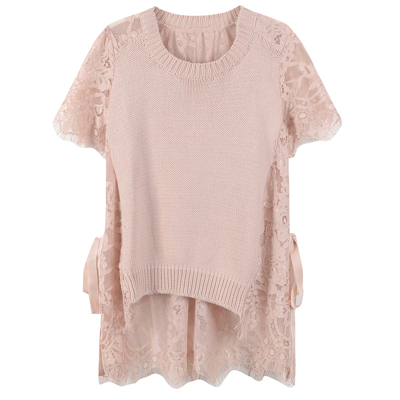 Women T Shirt Side Lace Up Elegant Lace T Shirt Knitted Summer Tees Pullovers Top Runway