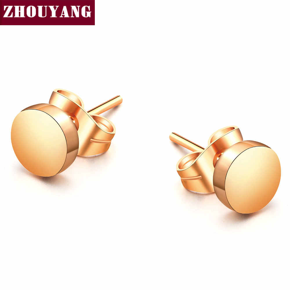 Top Quality Concise Smooth Round Rose Gold Color Stud Earring ZYE573 ZYE581 ZYE584