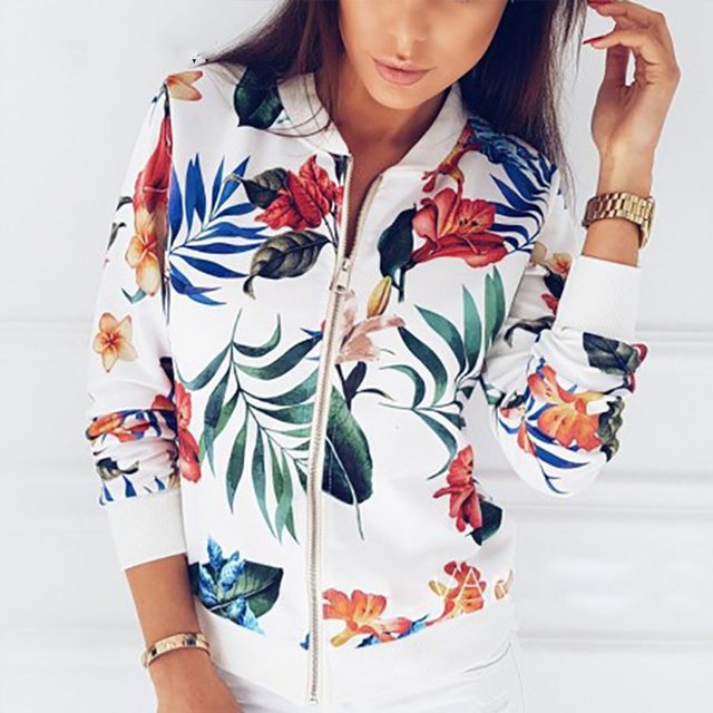 Print Bomber Jacket Women Flowers Zipper Up Retro Coat Spring 2019 Summer Long Sleeve Basic Plus Size Short Biker Jackets Female