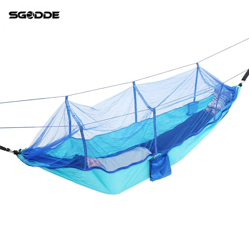 SGODDE Double Parachute Mosquito Net Hammock Chair Tourism Flyknit Hamaca Hamak Rede Garden Swing Hangmat Sleeping Hammock 2 people portable parachute hammock outdoor survival camping hammocks garden leisure travel double hanging swing 2 6m 1 4m 3m 2m