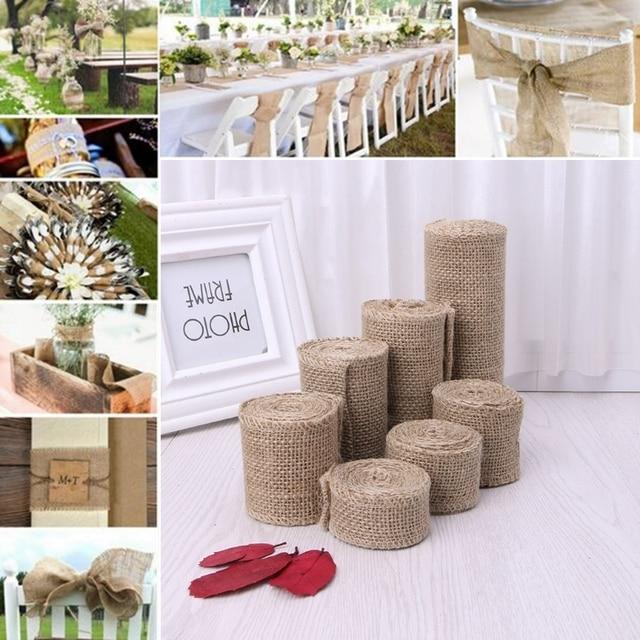 2m natural jute hessian burlap ribbon roll rustic wedding venue