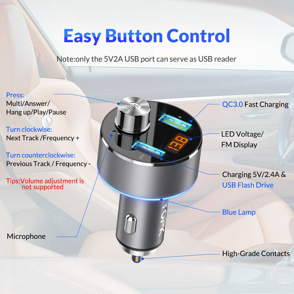 Cargador de coche TOPK inalámbrico Bluetooth FM Transmisor manos libres coche Audio MP3 reproductor QC3.0 carga rápida Dual USB coche cargador de teléfono