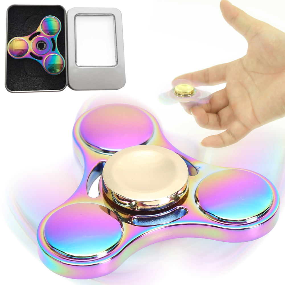 Rainbow Fidget Toy Hand Spinner Brass Tri-Spinner EDC Finger Spinner Focus Toy for Autism and ADHD