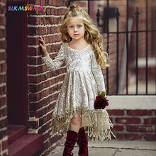 SLKMSWMDJ Vintage Dress Toddler Baby Girls Gold Velvet fringed Dress Solid Tassel Long Sleeve Baby Asymmetrical Dresses Clothing цены онлайн