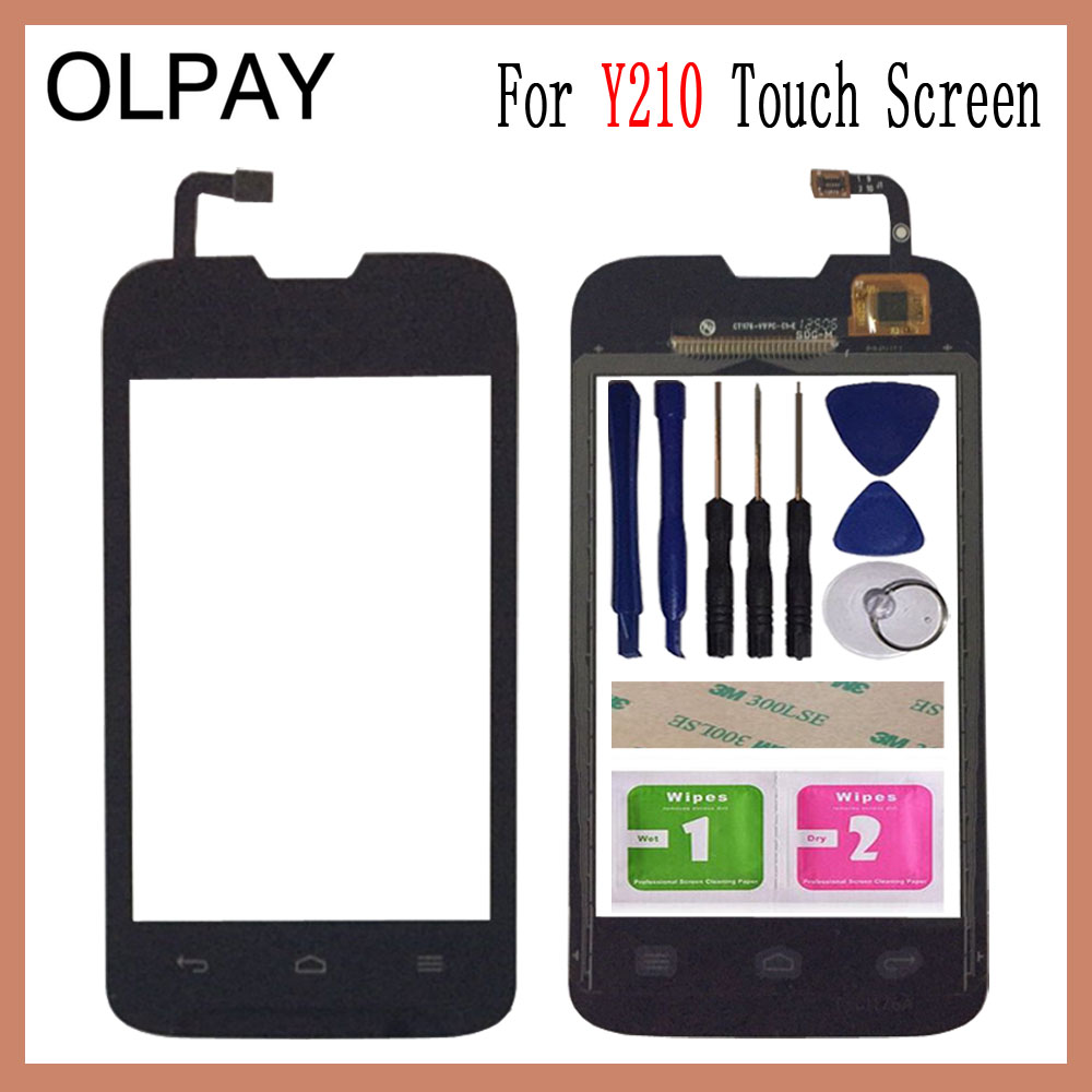 OLPAY 3.5'' Touch Glass Panel For Huawei Y210 Touch Screen Digitizer Glass Sensor Tools Free Adhesive+Clear Wipes