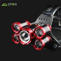 ZPAA Powerful 15000Lumens Led Headlamp Headlight 5 Led Bulbs Waterproof Head Flashlight Portable Torch Head For