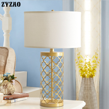 American Simple Gold Hollow Birds Cage Iron Table Lamps Home Decor Grid Gold Metal Lamp Bedroom Bedside Lamp Study Led Desk Lamp