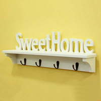 Rustic Style Fashion Home Decoration Sweet Home Wool Hook Wall Coat Hook Props