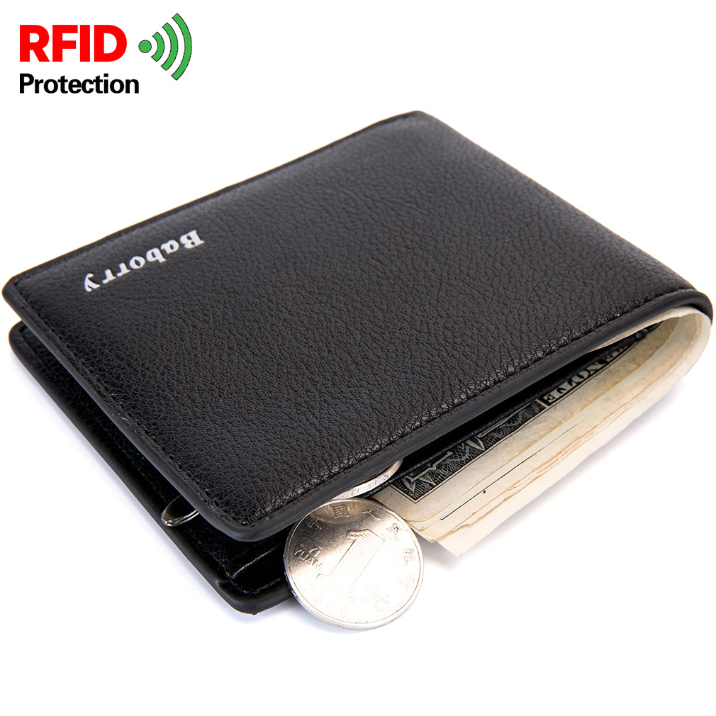 BABORRY RFID Theft Protec Men Wallets Famous Brand Mens Wallet Purses Male Leather Wallets Casual Men Wallet Carteira Masculina wallet purse dollar price carteira masculina men wallets short carteras leather famous brand purses portefeuille home mens walet