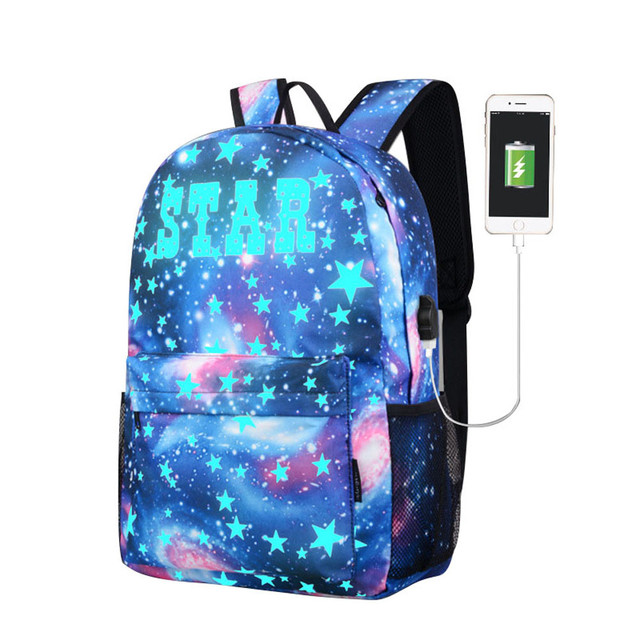 2 paragraph Teen Girls Galaxy School Bag Noctilucent Backpack Collection  Canvas USB Charger Star Bag Mochilas Escolares  YL-in Backpacks from  Luggage   Bags ... b84e23dfdf47b