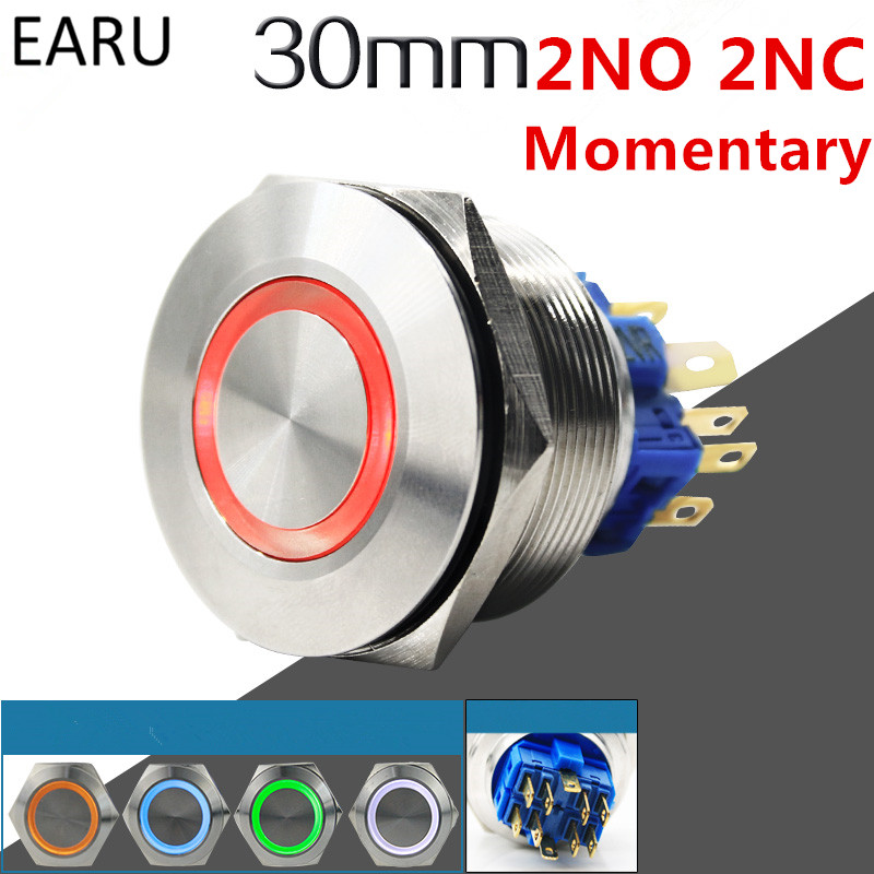 1pc 30mm 2NO 2NC Metal Stainless Steel Waterproof Momentary Doorebll Horn LED Push Button Switch Car Auto Engine Start PC Power 19mm 22mm pattern 2no 2nc waterproof stainless steel waterproof metal latching emergency stop push button switch button switch
