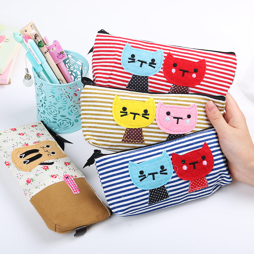 2 PCS High Quality School Supplies Large Capacity Canvas Pencil Case Cartoon Cat Stripe Stationery Storage Bag Office Supplies